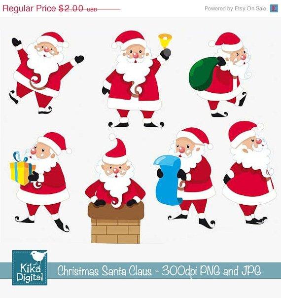 Santa Claus - Digital Clipart Scrapbooking - card design, invitations, stickers