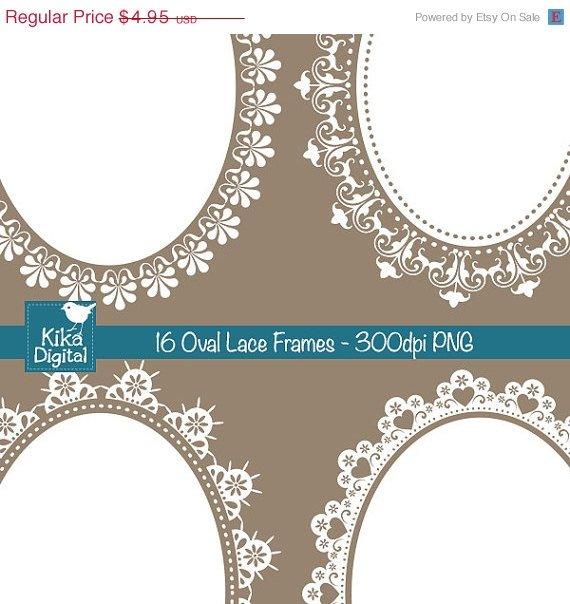 Oval Lace Frames Digital ClipartDigital wedding framesScrapbookingwedding stationery