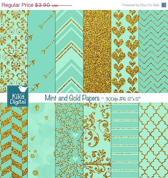 Mint Gold Digital PapersMint Wedding PapersGold Digital Scrapbook Paper in Mint & Gold