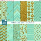 Mint Gold Digital PapersMint Wedding PapersGold Digital Scrapbook Paper in Mint & Gold