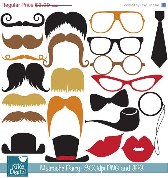 Mustache Party Digital Clipart - Scrapbooking , card design, photo booth