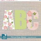 Digital Alphabet Pink , Grn - Digital Clipart / Scrapbooking colorful card