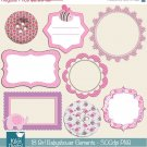 18 Girl Babyshower Digital ClipartDigital Scrapbooking Digital Framescard designbordes clipartOA