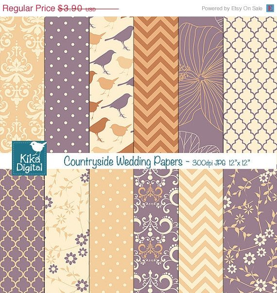Countryside Wedding Digital Papers, damask scrapbook papers, wedding invitation