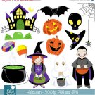 Hoween Digital Clipart - Cute Hoween - Scrapbook , card design, stickers
