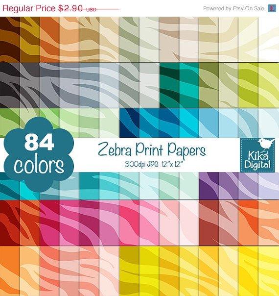 Zebra Print Digital Papers-Rainbow Animal Print papers-Zebra Papers-Huge Paper