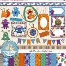 Little Monsters Digital Clipart , Paper Pack - Scrapbooking , card design