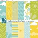 Good Morning Sunshine Digital PapersSunny Papers-scrapbookcard design,paper crafts
