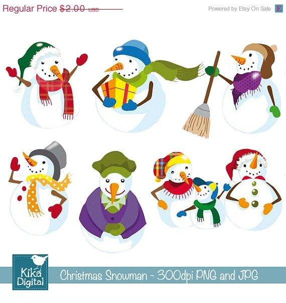 Christmas Snowmen - Digital Clipart - card design, invitations, stickers, web