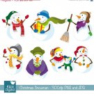 Christmas Snowmen - Digital Clipart - card design, invitations, stickers, web