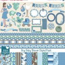Boy Baby Shower Digital Clipart , Paper COMBO - Scrapbooking , card designa