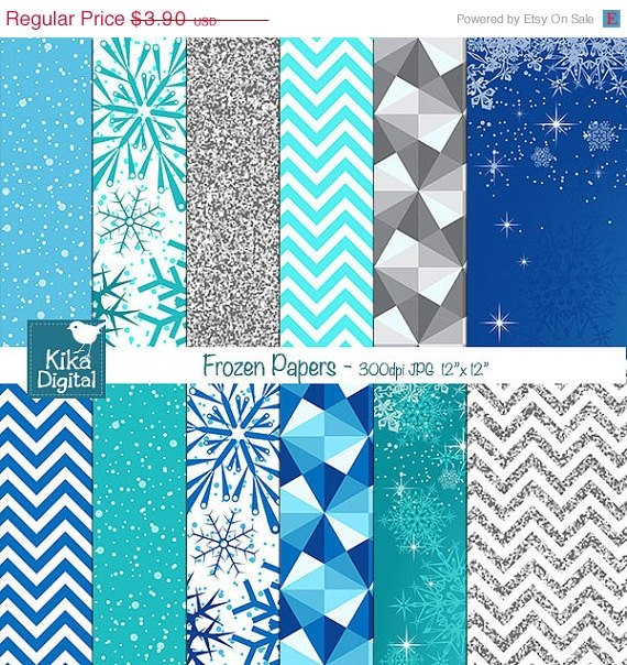 Frozen Digital Papers, Winter Scrapbook Papers - card design, background