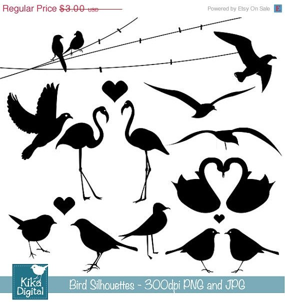 Bird Silhouettes - Digital Clipart / Scrapbooking black - card design, stickers