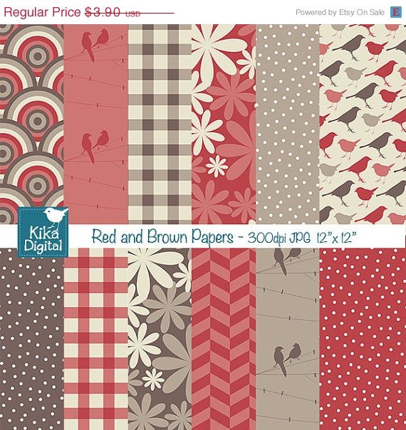 Red ,Brw Digital Papers - Digital Scrapbook Papers card design, stickers