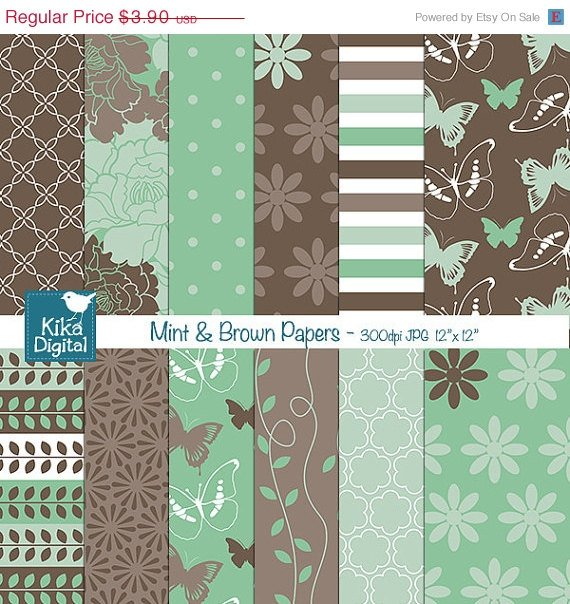 Mint ,Brw Digital Papers II - Scrapbooking, card design, stickers, background