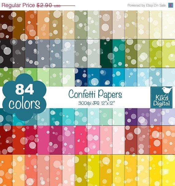 ON SALE 60 Percent Confetti Digital Papers-Rainbow Confetti Papers-Soap Bubble papers-Huge Paperlo