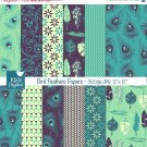 Bird Feathers Digital Papers - Peacock Digital Scrapbooking Papers - card design