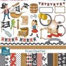 Pirates Digital Clipart , Paper Pack - Scrapbooking , card design, stickers