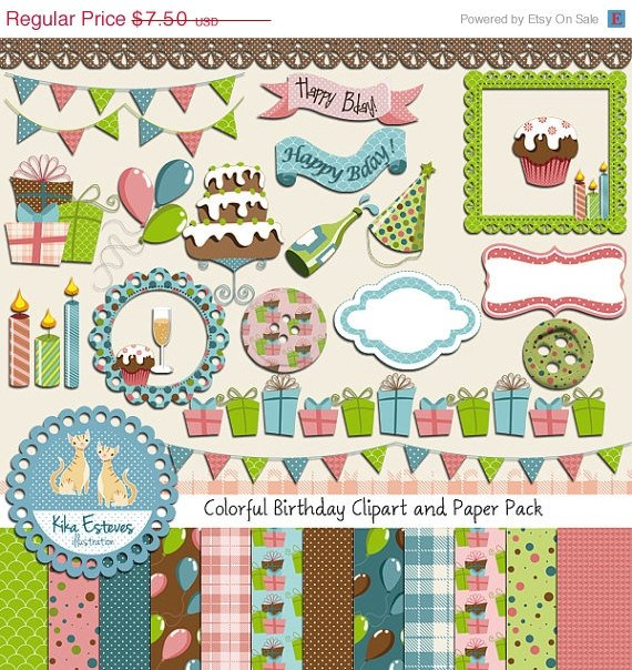 Colorful Birthday Digital Clipart , Paper COMBO - Scrapbooking , card design