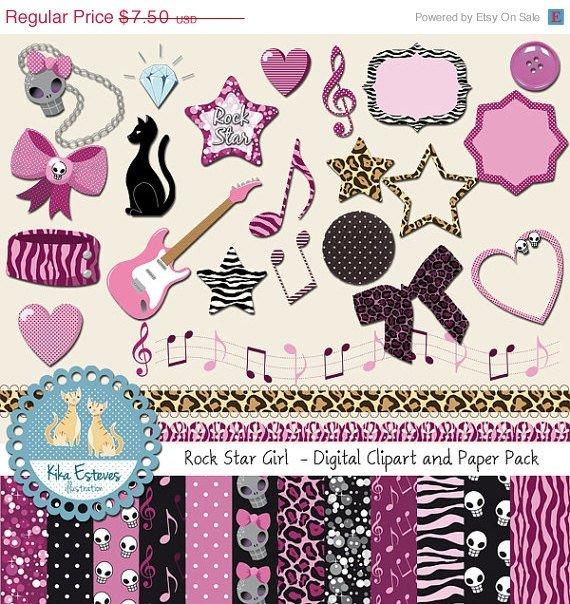 Rock Star Girl Digital Clipart , Paper COMBO - Scrapbooking , card design