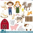 Farm Digital Clipart - Country Clip Art - Scrapbooking , card design, stickers