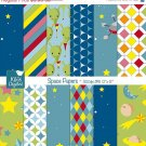 Space Digital Papers - Scrapbooking, card design, stickers, background