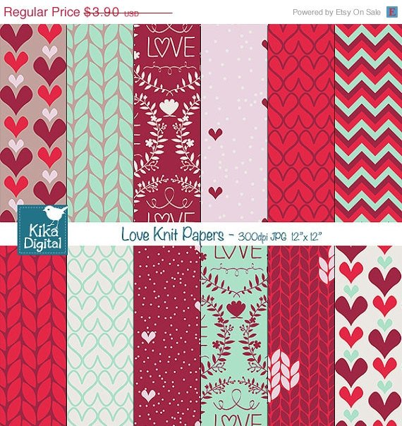 Love Knit Digital Papers, Knit Digital Scrapbook Papers, Paper Pack- card design