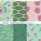 Doodle Flowers II Digital Papers - Floral Paper Pack - Scrapbook, card design