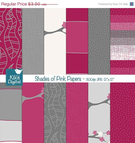 Shades of Pink Digital PapersHot Pink Scrapbooking PaperPink Grey Papers-card design
