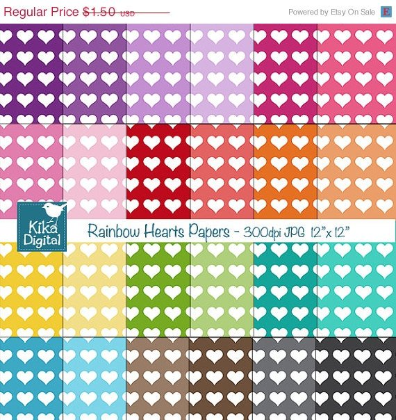 Colorful Hearts Digital Papers - Colorful Digital Scrapbook Papers - card design