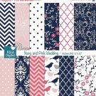 Navy , Pink Digital Papers, Navy , Coral Digital Papers - wedding, card design