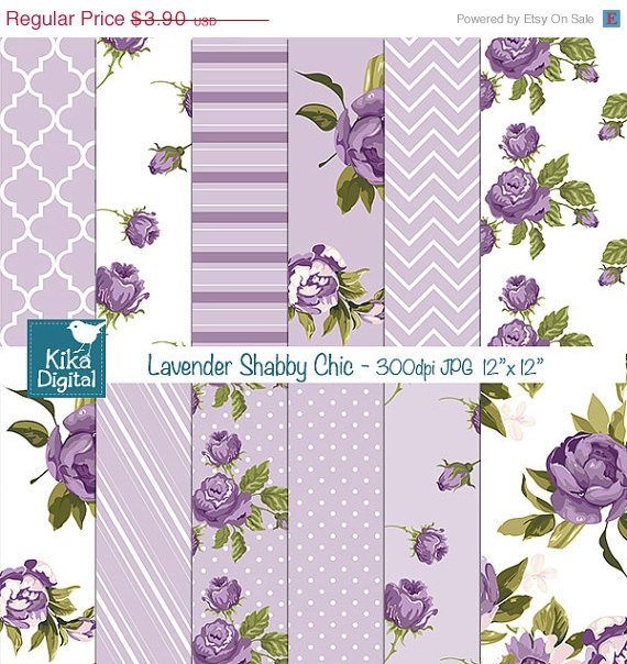Lavender Shabby Chic Digital PapersDigital papersShabby Chic Papers-card design