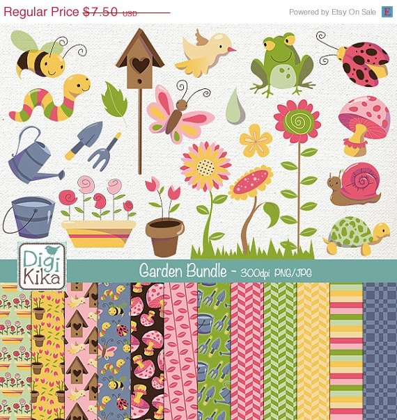 Garden Digital Bundle- Clipart , Paper Pack- scrapbooking , photo album, design