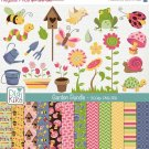 Garden Digital Bundle- Clipart , Paper Pack- scrapbooking , photo album, design