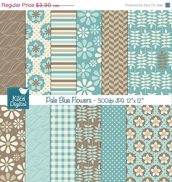 Pale Blue Flowers Digital Papers - Scrapbooking Papers - card design