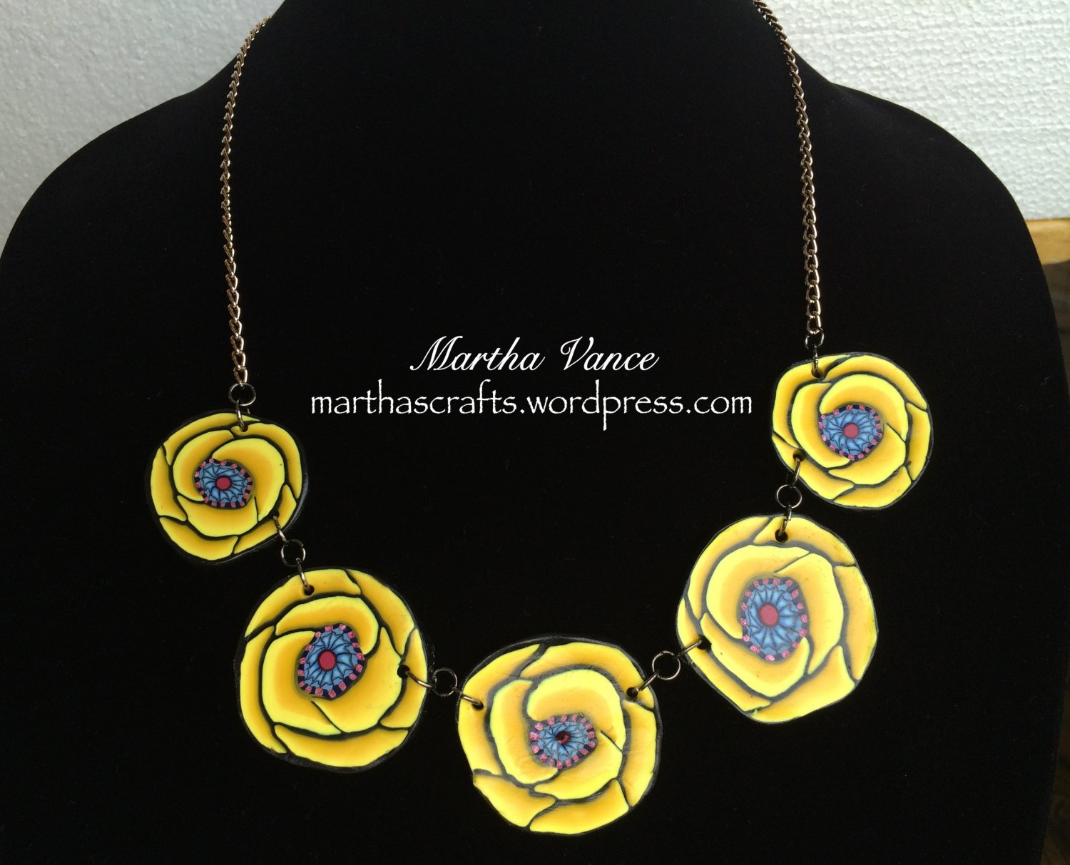 Yellow Roses Polymer Clay Necklace