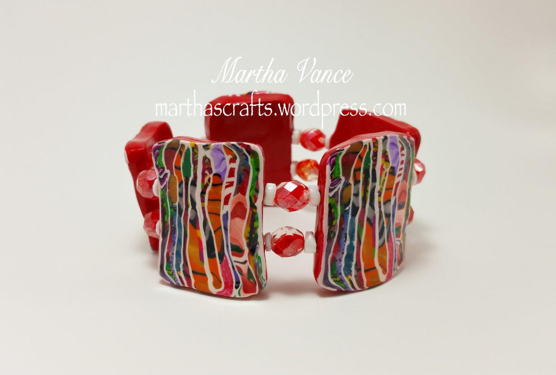 Red Stroppel tiles bracelet