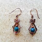 Wirewrapped Copper and jade dangling earrings