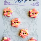 Pink and Yellow Flower polymer clay Buttons