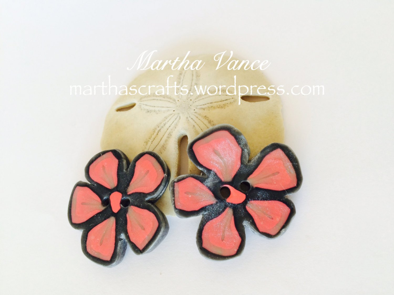 Polymer clay Big flower buttons