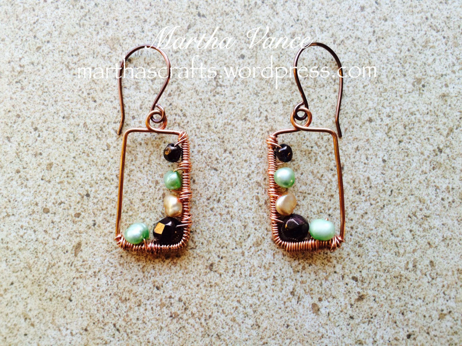 Wirewrapped Copper Frame Earrings