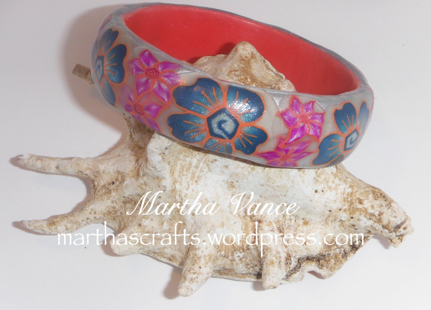 Teal polymer clay bangle bracelet