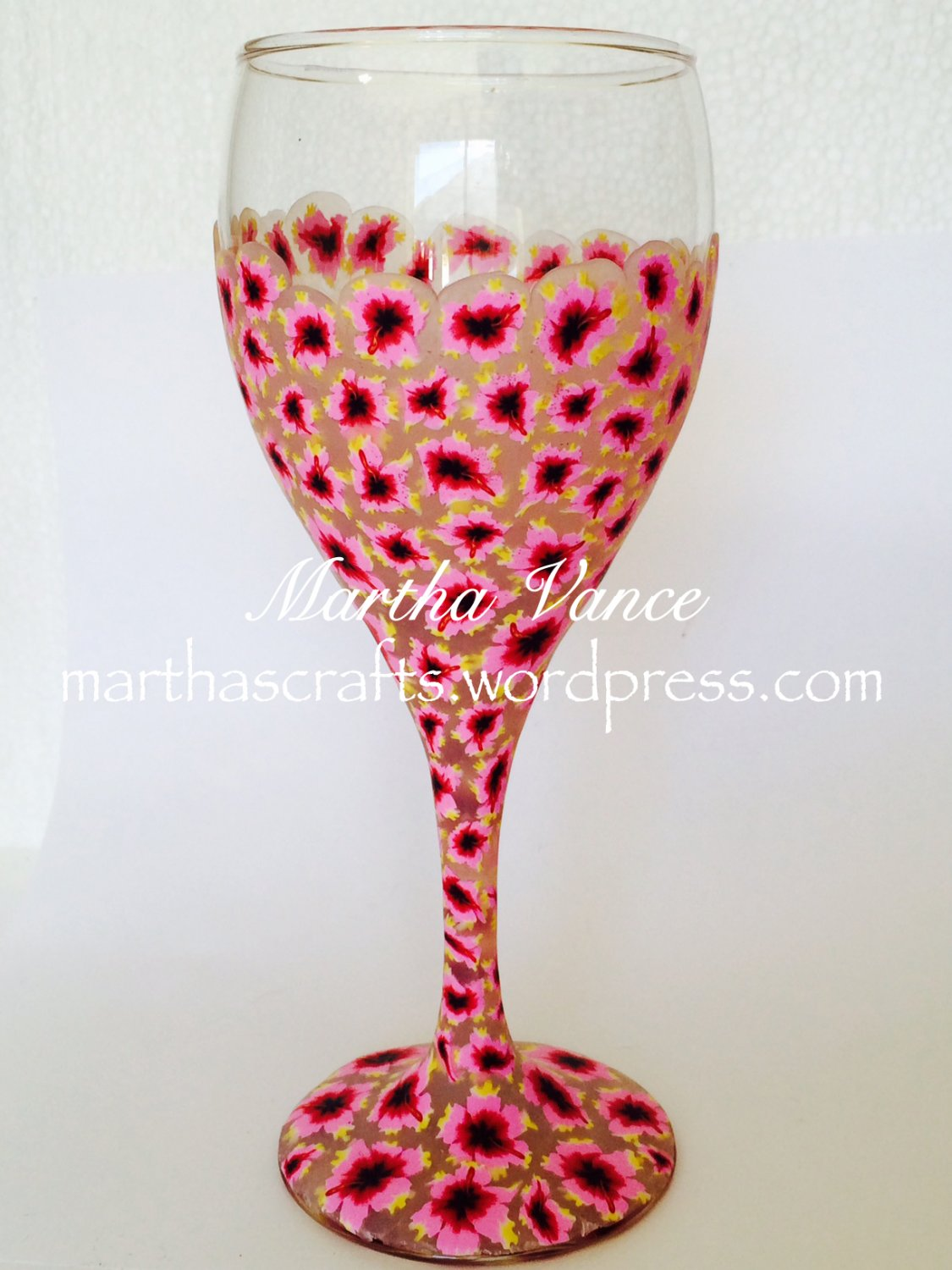 Polymer clay covered wine glass