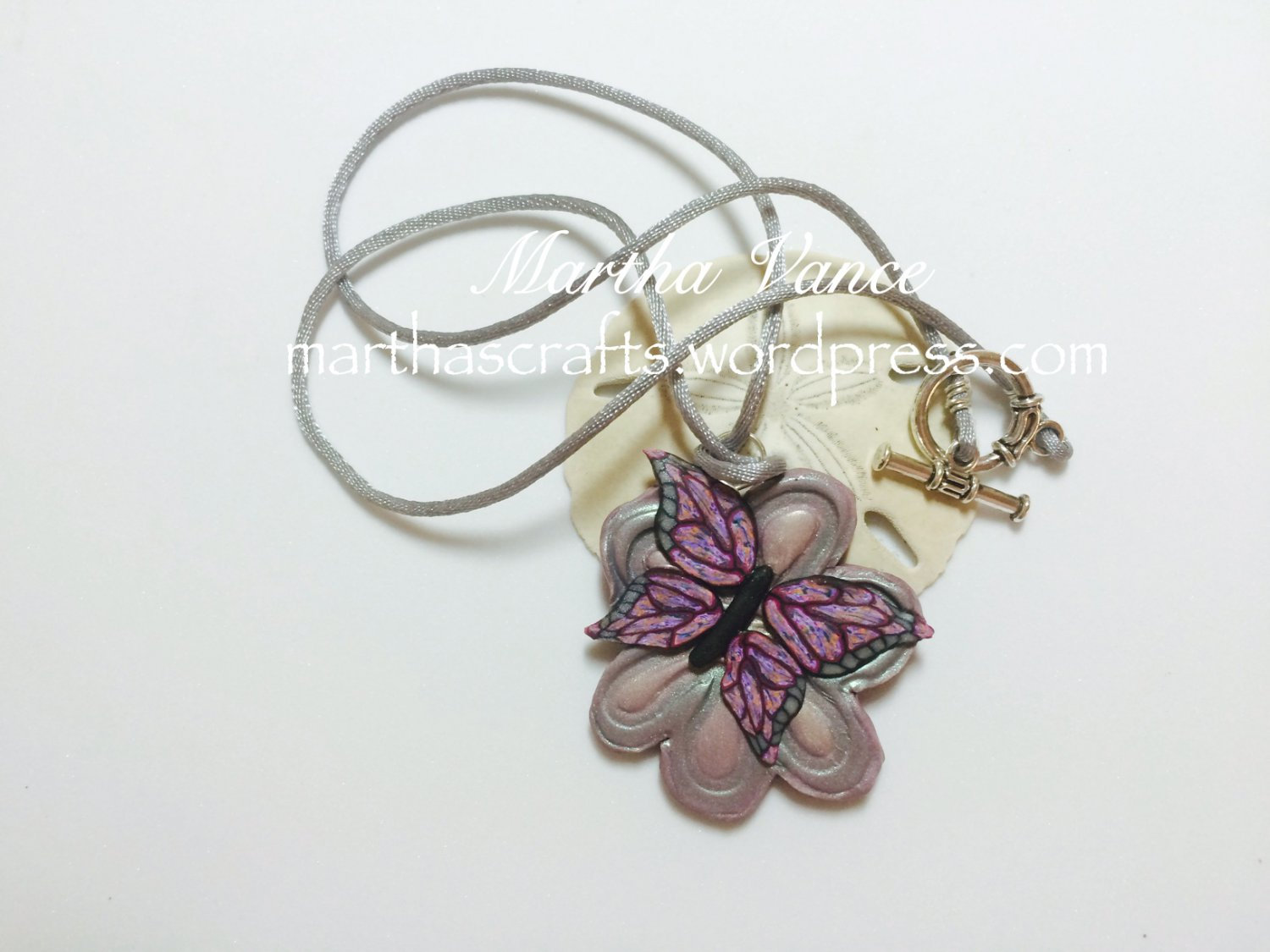 Polymer clay flower and butterfly Pendant Necklace