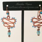 Wirewrapped Blue and Copper Earrings