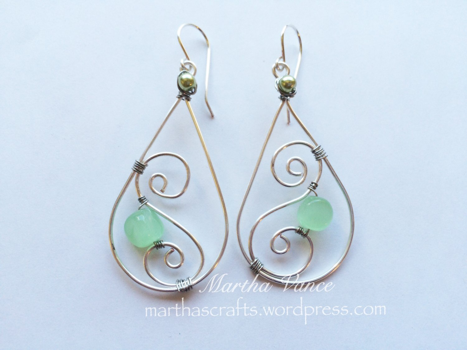 Wirewrapped Silver and Green Earrings