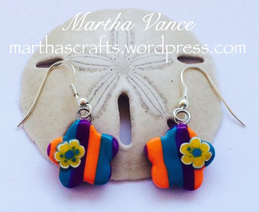 Polyme clay striped flower earrings