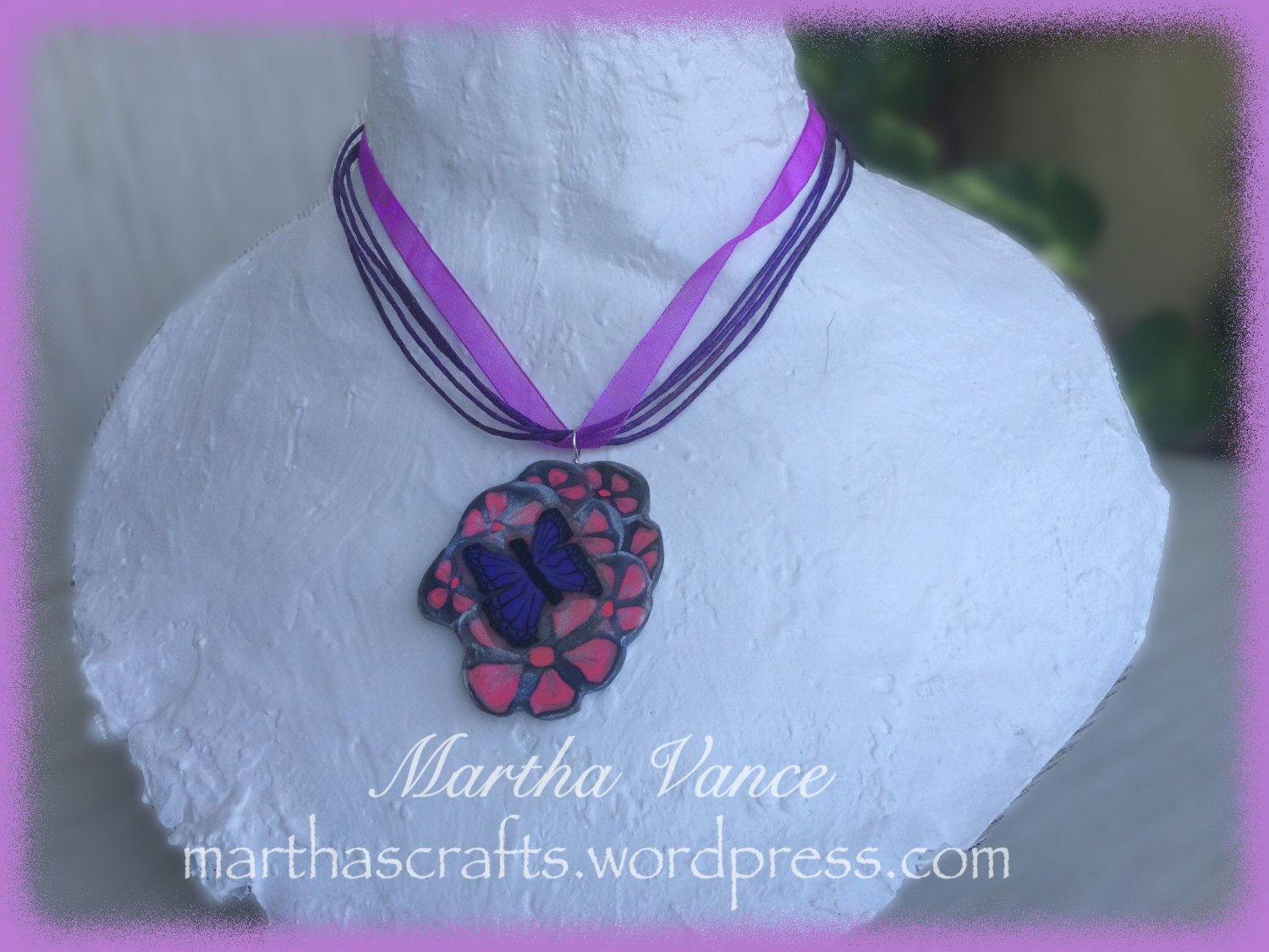 Pink Flowers and Butterfly Pendant