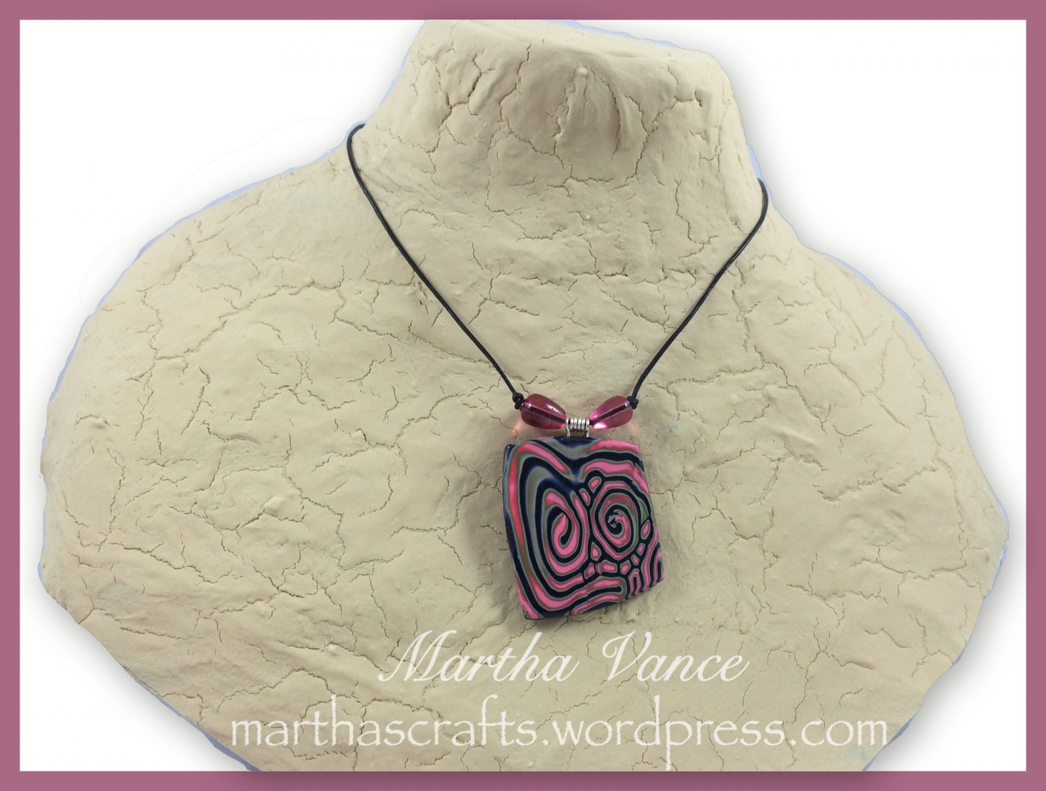 Pink and Green Polymer Clay Pendant Necklace