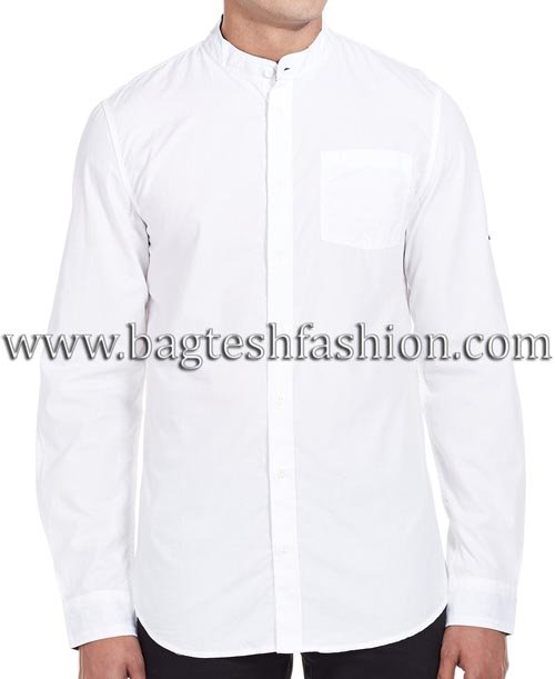 Mens Nehru Collar White Cotton Shirt